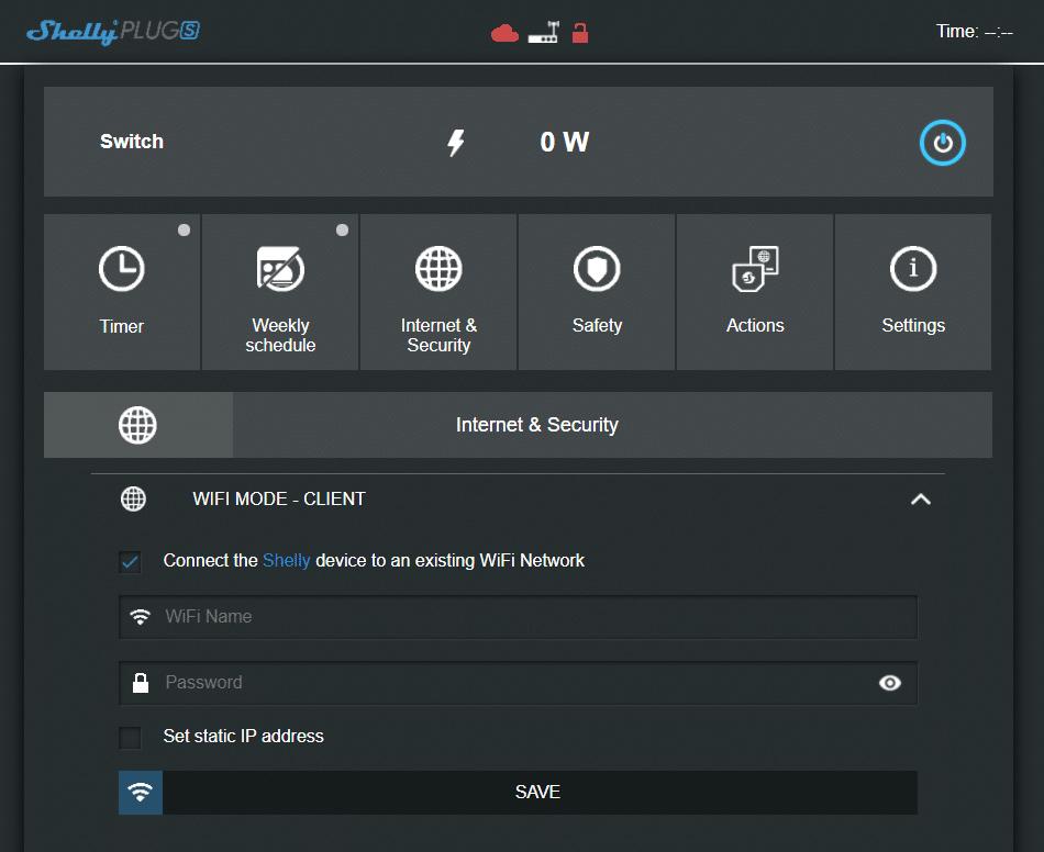 Interfaz de la web de Shelly para configurar sus dispositivos inteligentes a la red WiFi del usuario